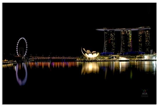 Night falls across the beautiful Singapore city